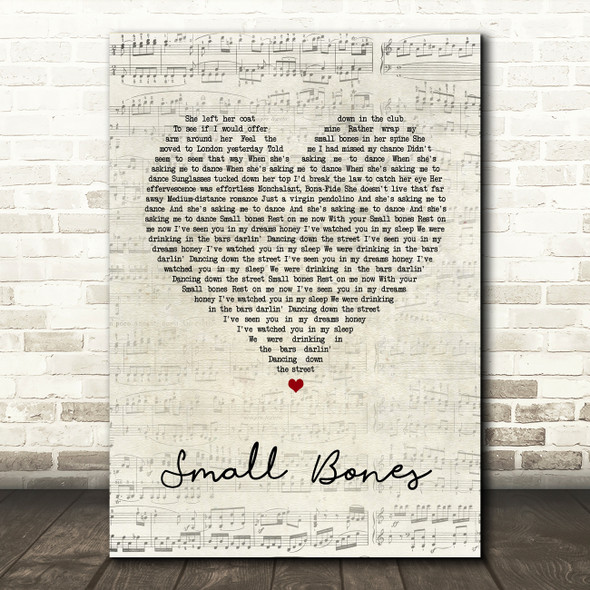 The Courteeners Small Bones Script Heart Song Lyric Quote Print