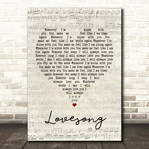 The Cure Lovesong Script Heart Song Lyric Quote Print