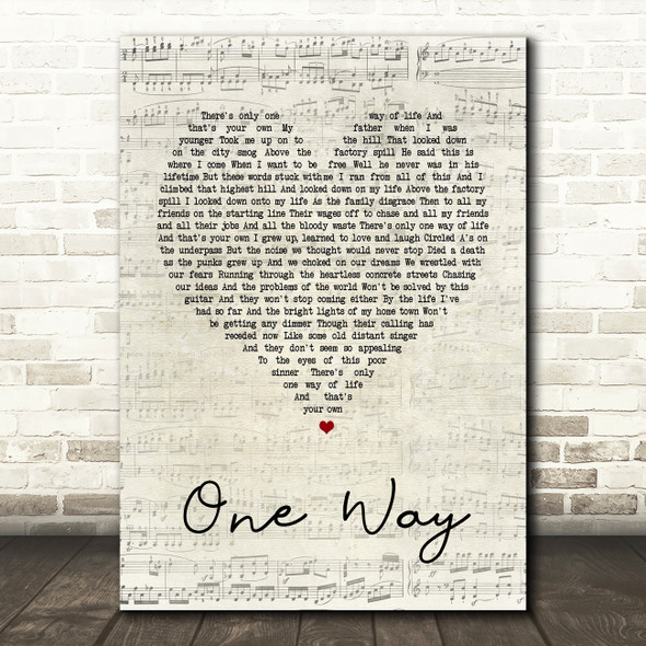 The Levellers One Way Script Heart Song Lyric Quote Print