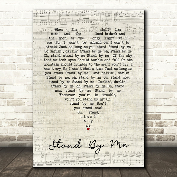 Stand By Me Ben E King Script Heart Quote Song Lyric Print