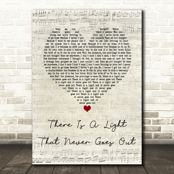 The Smiths There Is A Light That Never Goes Out Script Heart Song Lyric Print