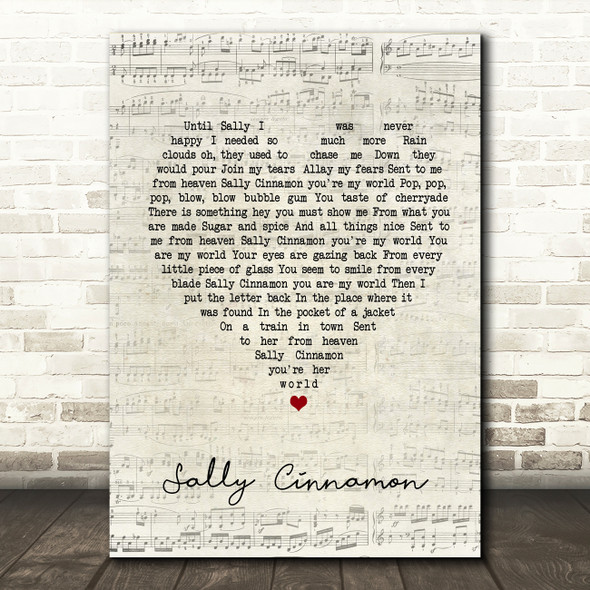 The Stone Roses Sally Cinnamon Script Heart Song Lyric Quote Print