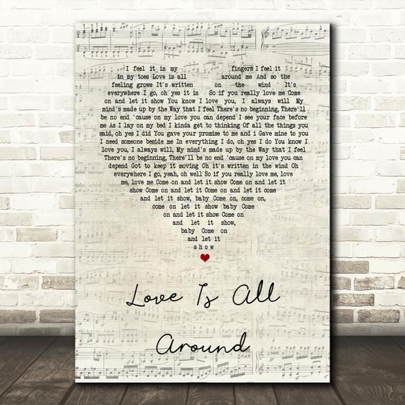 Wet Wet Wet Love Is All Around Script Heart Song Lyric Quote Print