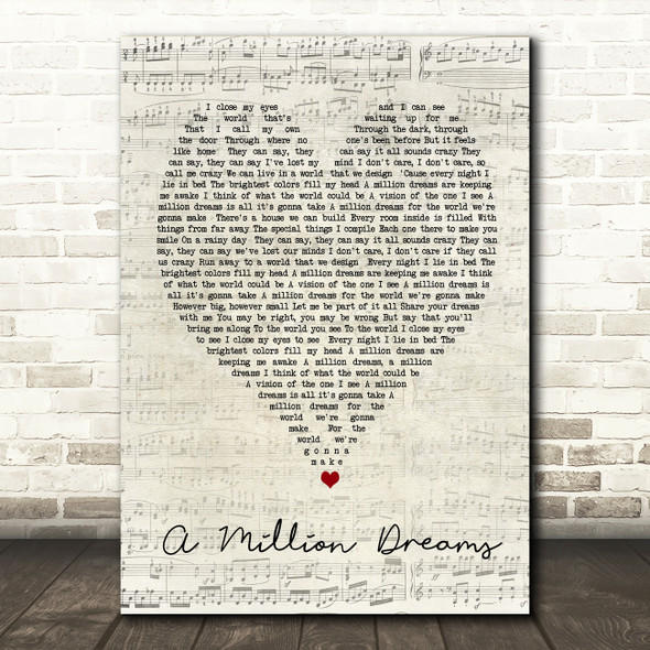 A Million Dreams The Greatest Showman Script Heart Song Lyric Quote Print