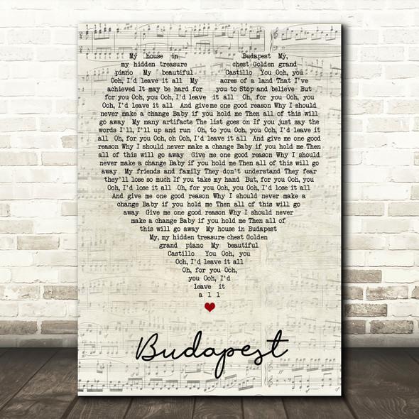 Budapest George Ezra Script Heart Song Lyric Quote Print