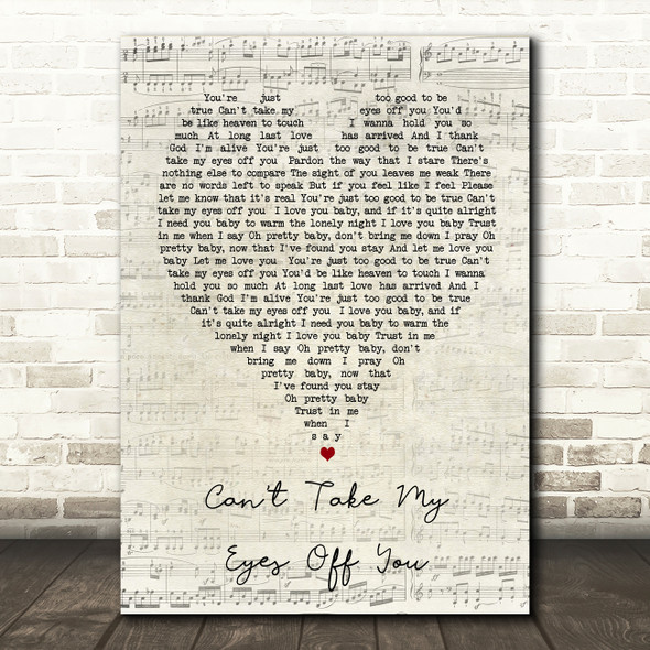 Can't Take My Eyes Off You Andy Williams Script Heart Song Lyric Quote Print
