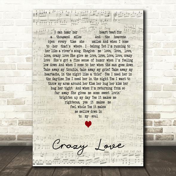 Crazy Love Van Morrison Script Heart Song Lyric Quote Print
