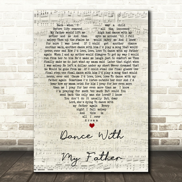 Dance With My Father Luther Vandross Script Heart Song Lyric Quote Print