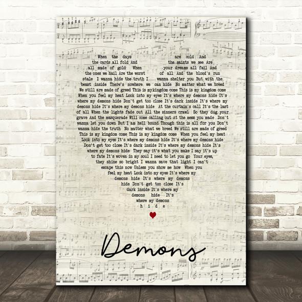 Demons Imagine Dragons Script Heart Song Lyric Quote Print