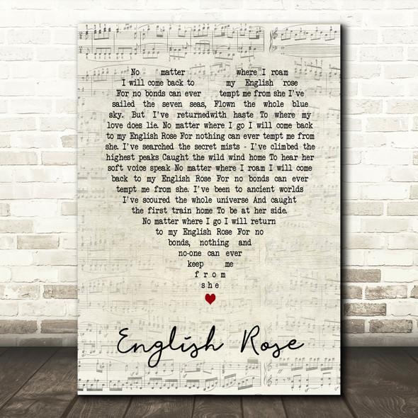 English Rose Paul Weller Script Heart Song Lyric Quote Print