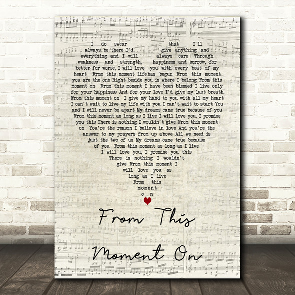 From This Moment On Shania Twain Script Heart Song Lyric Quote Print
