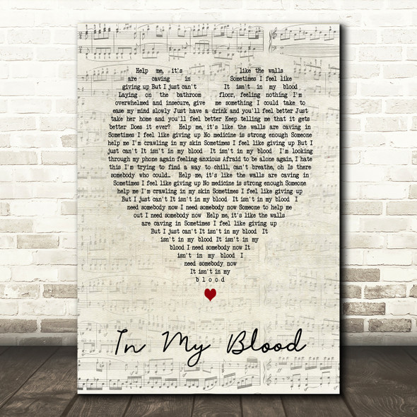 In My Blood Shawn Mendes Script Heart Song Lyric Quote Print