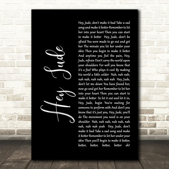 The Beatles Hey Jude Black Script Song Lyric Quote Print