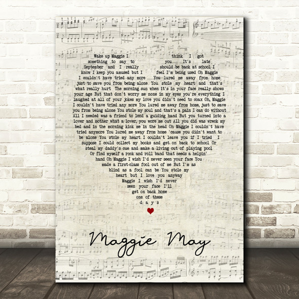 Maggie May Rod Stewart Script Heart Song Lyric Quote Print