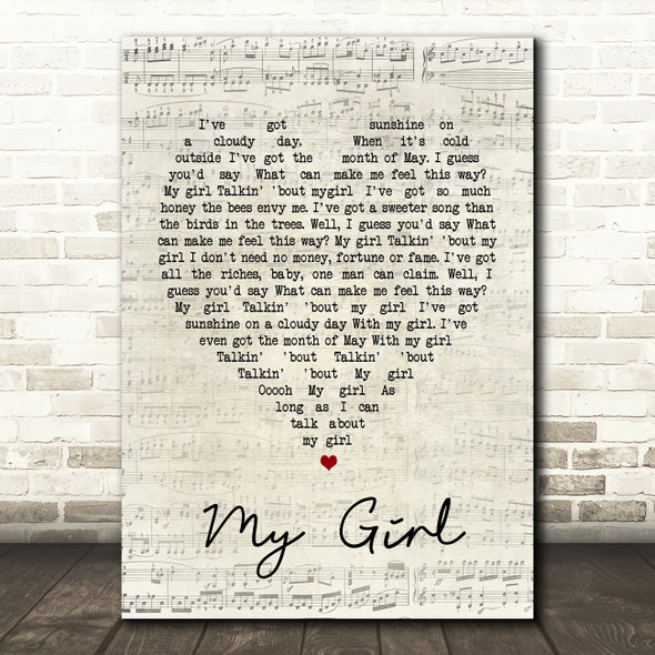 My Girl The Temptations Script Heart Song Lyric Quote Print