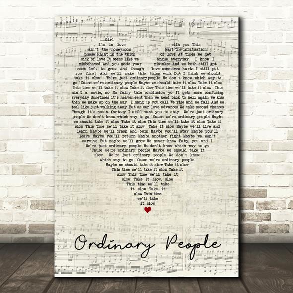 Ordinary People John Legend Script Heart Song Lyric Quote Print