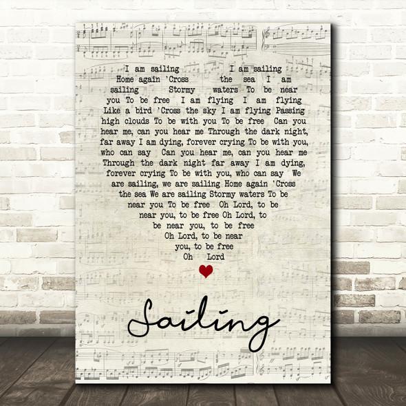 Sailing Rod Stewart Script Heart Song Lyric Quote Print
