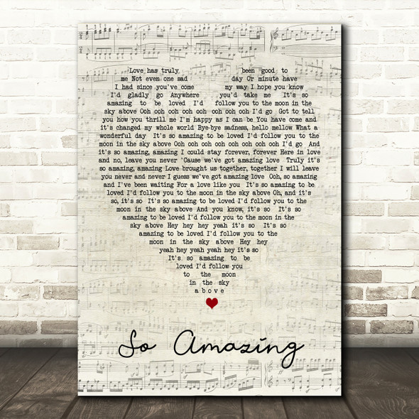 So Amazing Luther Vandross Script Heart Song Lyric Quote Print