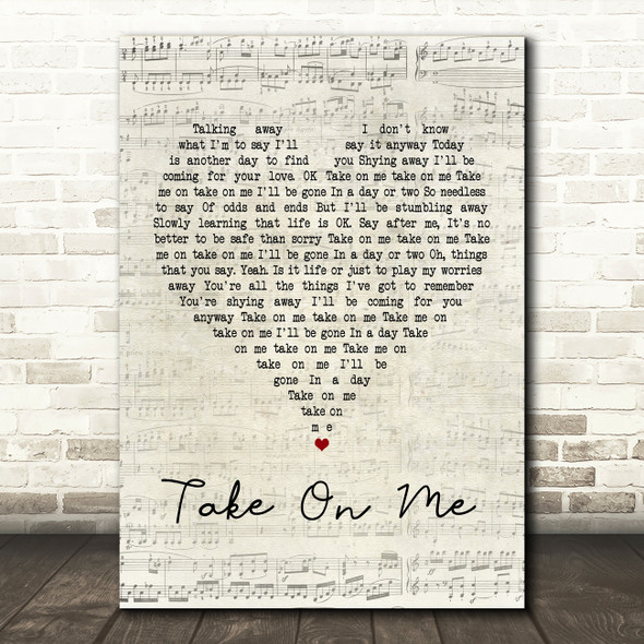 A-ha Take On Me Script Heart Song Lyric Quote Print
