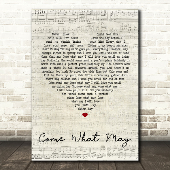 Alfie Boe And Kerry Ellis Come What May Script Heart Song Lyric Quote Print