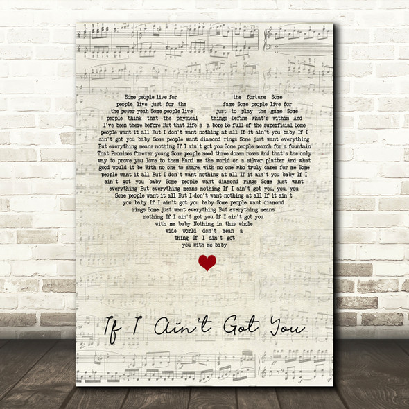 Alicia Keys If I Ain't Got You Script Heart Song Lyric Quote Print