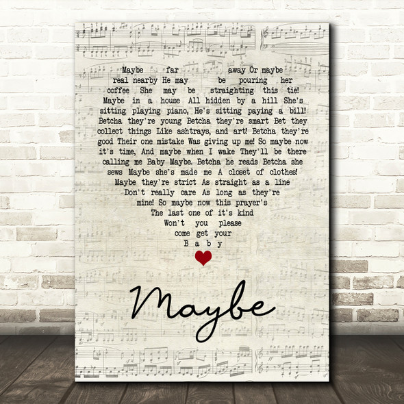 Annie Maybe Script Heart Song Lyric Quote Print