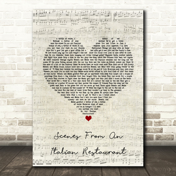 Billy Joel Scenes From An Italian Restaurant Script Heart Song Lyric Print