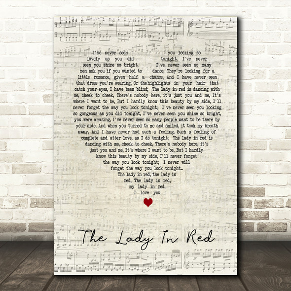 The Lady In Red Chris De Burgh Script Heart Song Lyric Quote Print