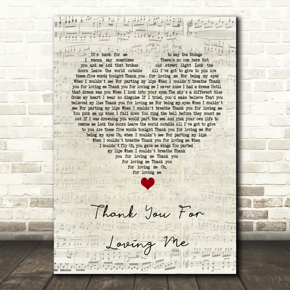 Bon Jovi Thank You For Loving Me Script Heart Song Lyric Quote Print