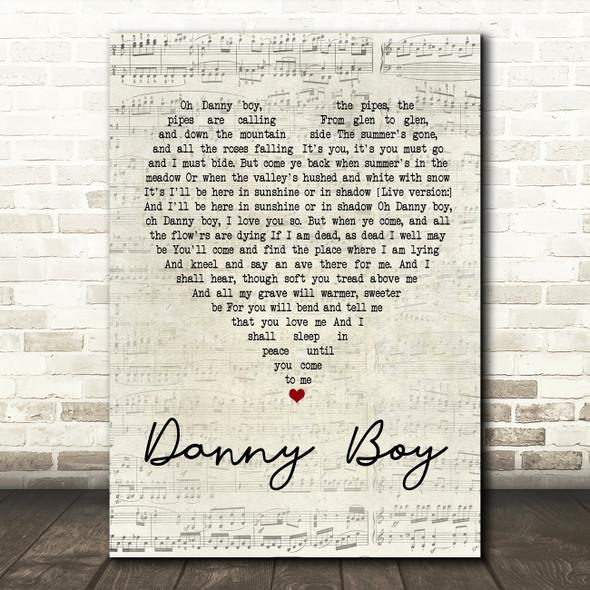 Celtic Woman Danny Boy Script Heart Song Lyric Quote Print