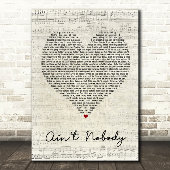 Chaka Khan Ain't Nobody Script Heart Song Lyric Quote Print