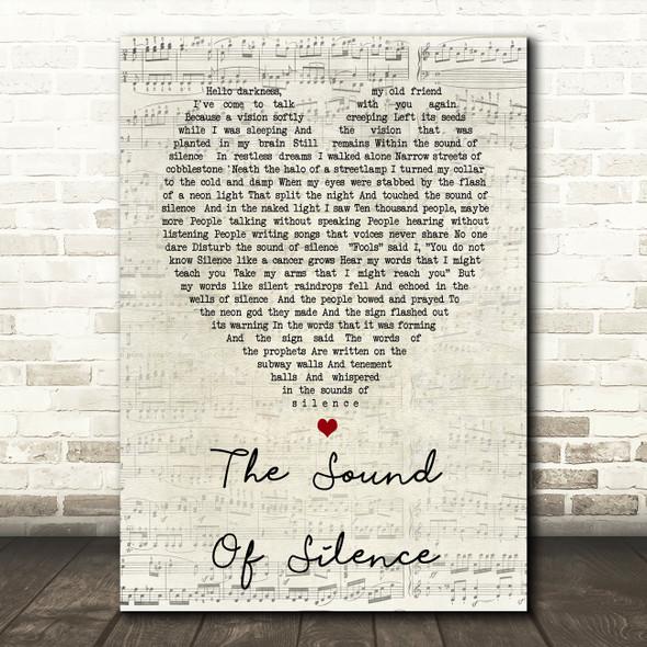 The Sound Of Silence Simon & Garfunkel Script Heart Song Lyric Quote Print
