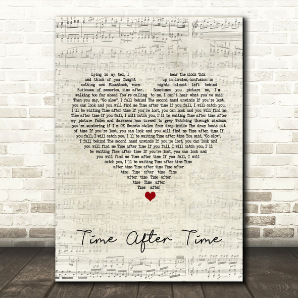 Cyndi Lauper Time After Time Script Heart Song Lyric Quote Print