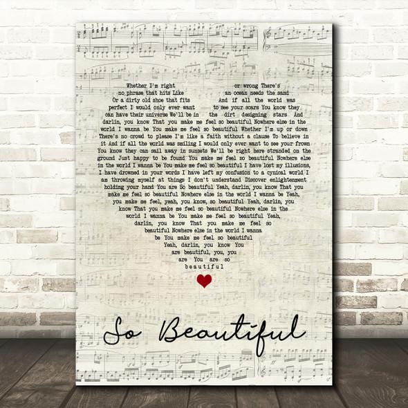Darren Hayes So Beautiful Script Heart Song Lyric Quote Print
