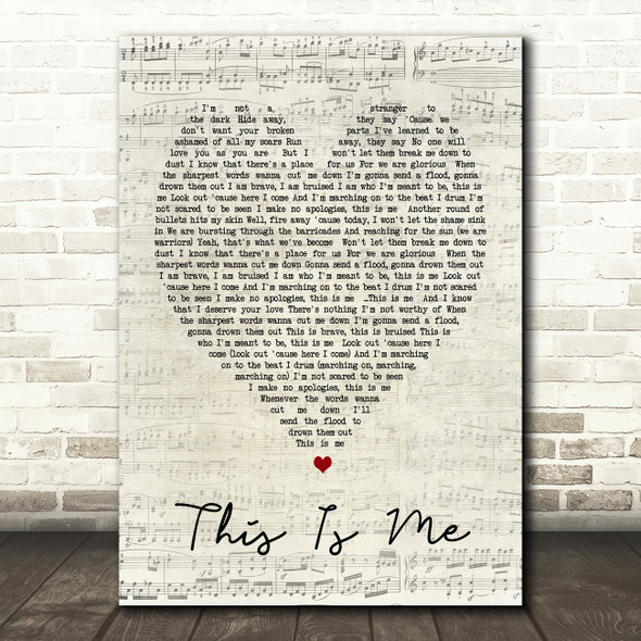 This Is Me The Greatest Showman Script Heart Song Lyric Quote Print