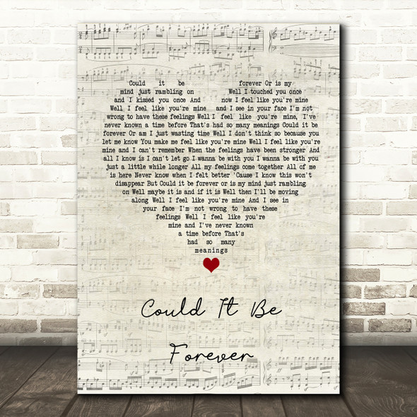 David Cassidy Could It Be Forever Script Heart Song Lyric Quote Print