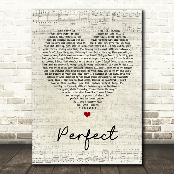 Ed Sheeran & Beyonce Perfect Script Heart Song Lyric Quote Print