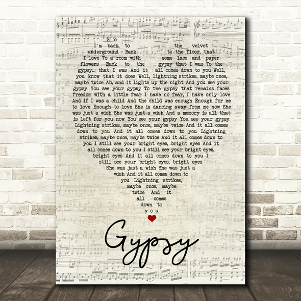 Gypsy Fleetwood Mac Script Heart Quote Song Lyric Print