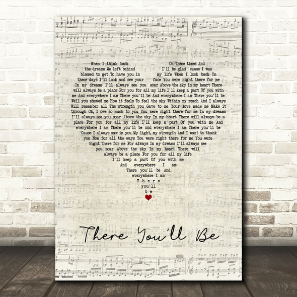 Faith Hill There You'll Be Script Heart Song Lyric Quote Print