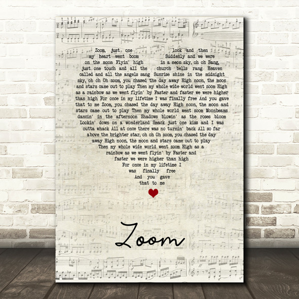 Fat Larry's Band Zoom Script Heart Song Lyric Quote Print