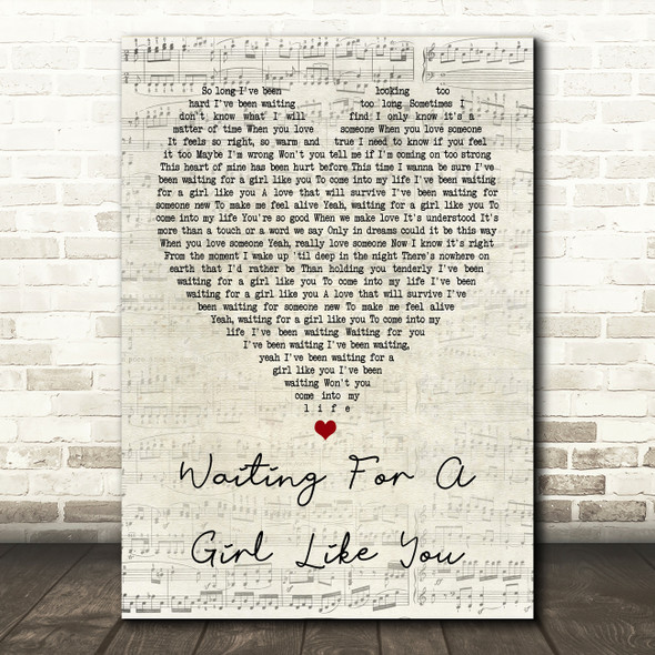 Foreigner Waiting For A Girl Like You Script Heart Song Lyric Quote Print