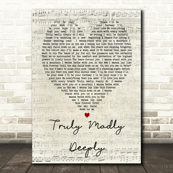 Truly Madly Deeply Savage Garden Script Heart Song Lyric Quote Print