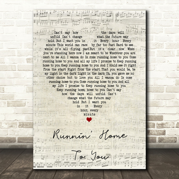 Grant Gustin Runnin' Home To You Script Heart Song Lyric Quote Print