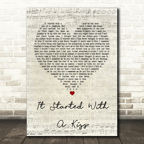 Hot Chocolate It Started With A Kiss Script Heart Song Lyric Quote Print