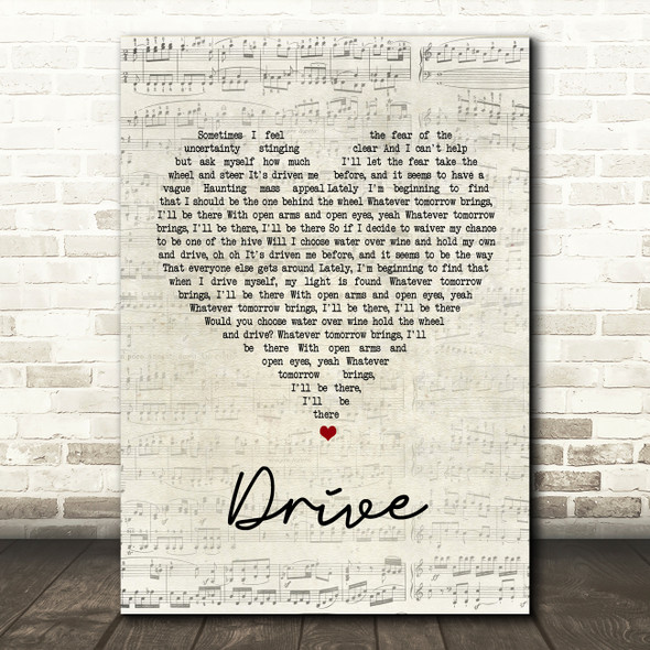 Incubus Drive Script Heart Song Lyric Quote Print