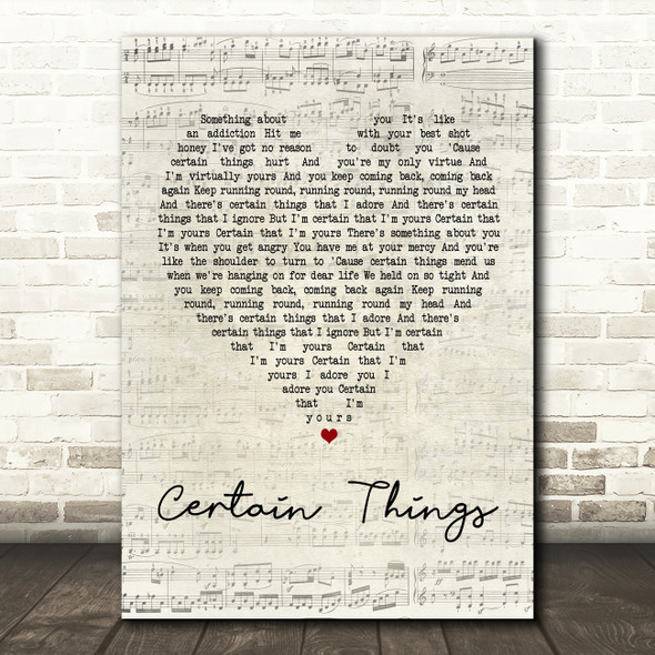 James Arthur Certain Things Script Heart Song Lyric Quote Print