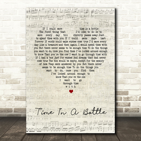 Jim Croce Time In A Bottle Script Heart Song Lyric Quote Print
