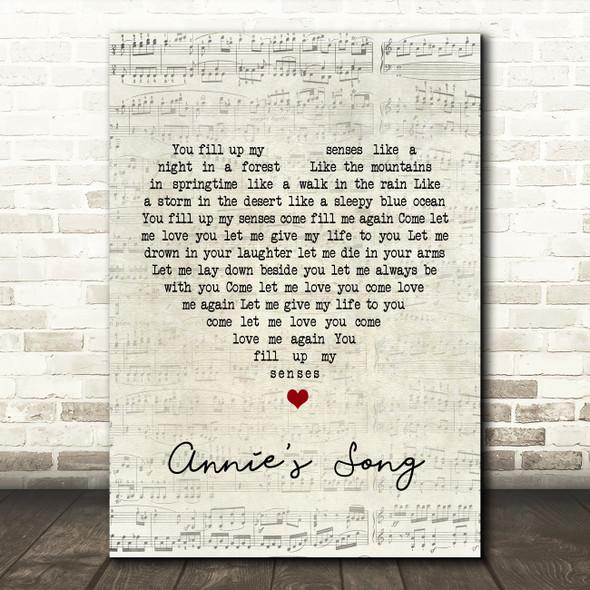 John Denver Annie's Song Script Heart Song Lyric Quote Print