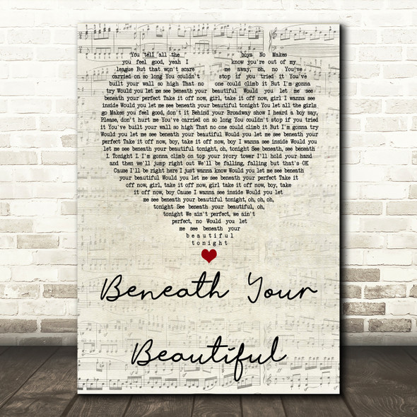 Labrinth Beneath Your Beautiful Script Heart Song Lyric Quote Print