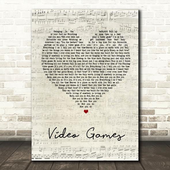 Lana Del Rey Video Games Script Heart Song Lyric Quote Print